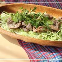 塩レモンでお手軽アジアンサラダ♪::香菜と豚肉とキャベツのサラダ