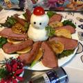 お歳暮のハムで、クリスマスカラーなオードブル