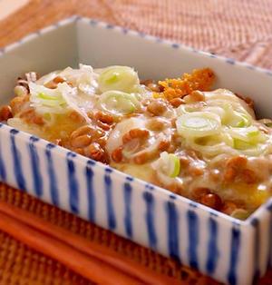 カリカリとろ〜り、納豆ねぎチーズ餅