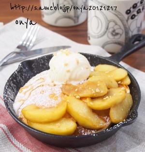 【休日朝ごはんとおやつに♡ふわふわ〜♡りんごのキャラメリゼ風バニラアイスパンケーキ♡】
