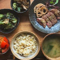 牛サーロインステーキの山葵醤油の献立