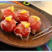 チリ産レモンで♪ミニトマトと生ハムのピンチョス☆