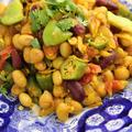 モロッコインゲンとオクラと豆のカレー