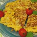 カニカマとタマネギの納豆オムレツ