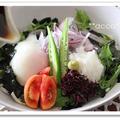 福岡県産のお野菜使って 冷たい花巻うどん風ぶっかけうどん♪
