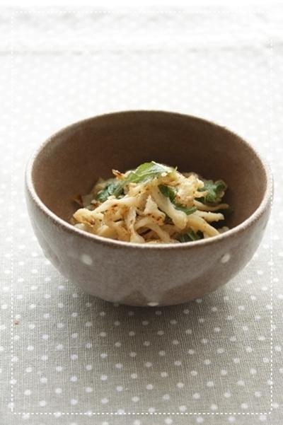 炒め切り干し大根と青じそのマヨ風味サラダ