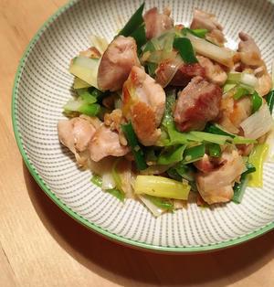 鶏もも肉と長ねぎの塩にんにく炒め