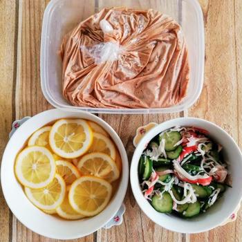 【作りおき】ヤンニョム風チキン、レモン漬け、酢の物