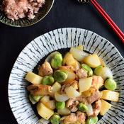 春野菜とチキンの和風レモン炒め 柚子こしょう添え