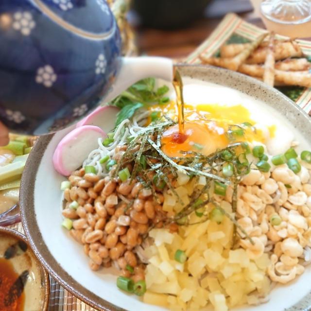 夏バテ予防に❕冷やし納豆そば✳️