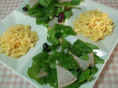 >ルッコラと炒り玉子のサラダ by うさうささん