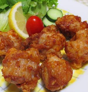 鶏の唐揚げ一味ラーユ味<辛味が美味しい一品>
