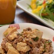 食べたくなるしみしみ麻婆豆腐と野菜ドレッシング。