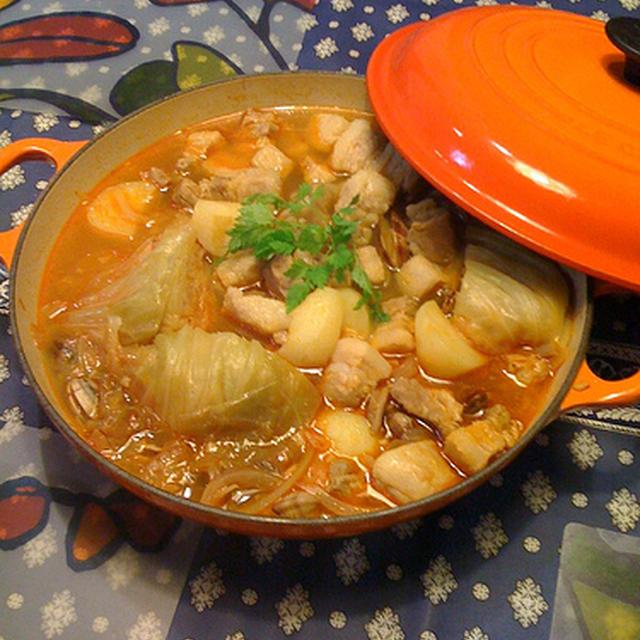 ル・クルーゼの鍋で作りました~豚肉とアサリのポルトガル風スープ