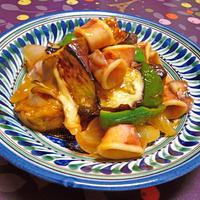 茄子とヤリイカの甘酢炒め