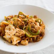 【レシピ】豆腐とピーマンの豚キムチ炒め