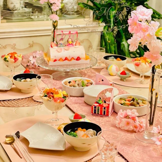 ひなまつり2021♡記録用に帰るコールのパパが、またひな祭りケーキ買って帰ろうか?(...