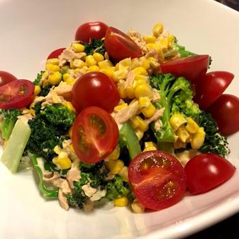 【缶詰レシピ】ブロッコリーとコーンのツナサラダ