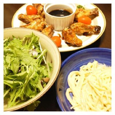 昨日の夕ご飯☆手羽先ロースト&ウニクリームパスタ