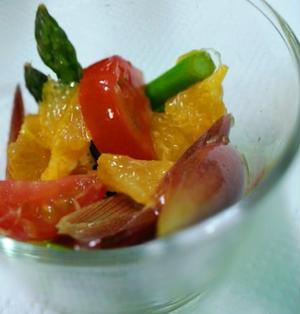 アスパラと果物のマリネ