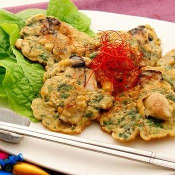 志津川湾産かきの韓国風お好み焼き