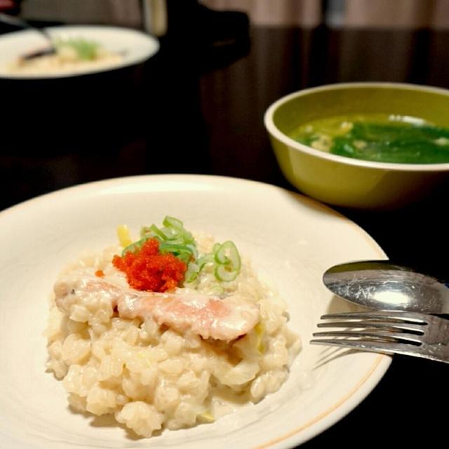 昨日の夕ごはん☆塩鮭でミルクリゾット【ざっくりレシピ付】