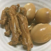 手羽中と玉子の甘辛煮+きんぴらゴボウ
