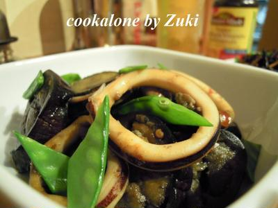 イカと茄子のピリ辛煮物