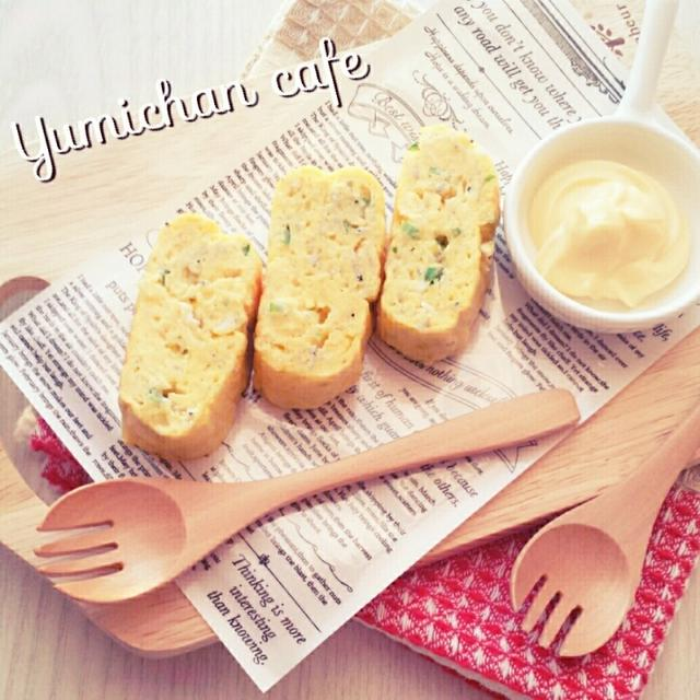 ♡マヨネーズ入りdeふわっふわ♪しらす&青ネギの厚焼きたまごの作り方♡【優しい味でキレイな色合】