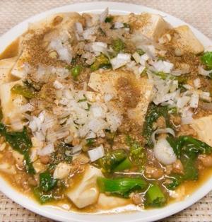 菜の花とソイミートの麻婆豆腐