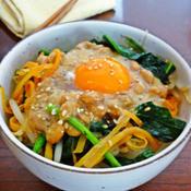 生姜味噌納豆の和風ビビンバ丼