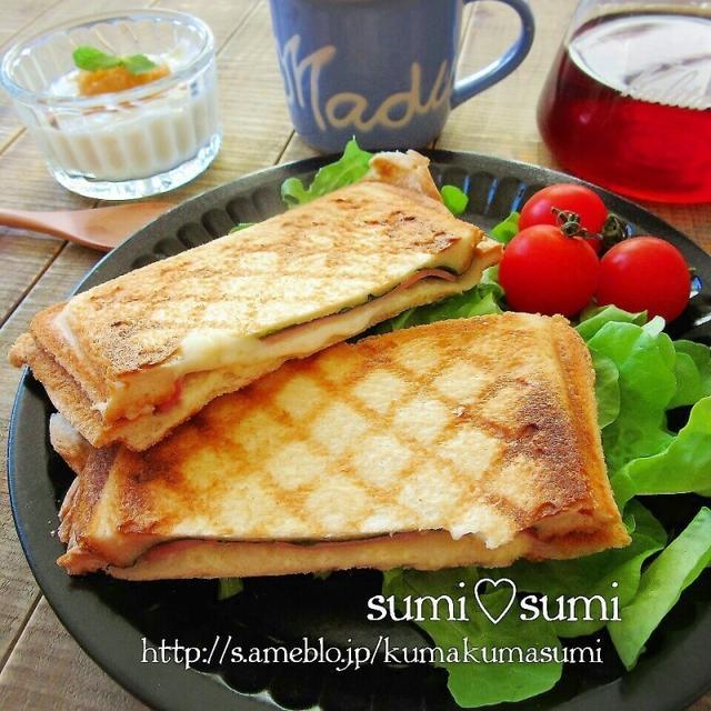 チーズとハムの♥キルトホットサンド