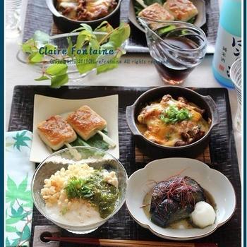 韓国風甘辛豚と新じゃがのチーズ焼き!で、おうち居酒屋