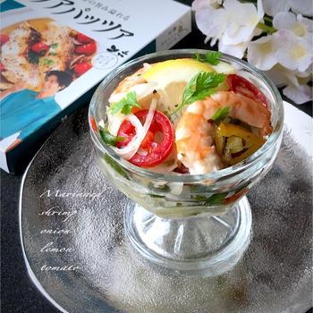 ご褒美ごはん♪アクアパッツァde海老とトマトのマリネ