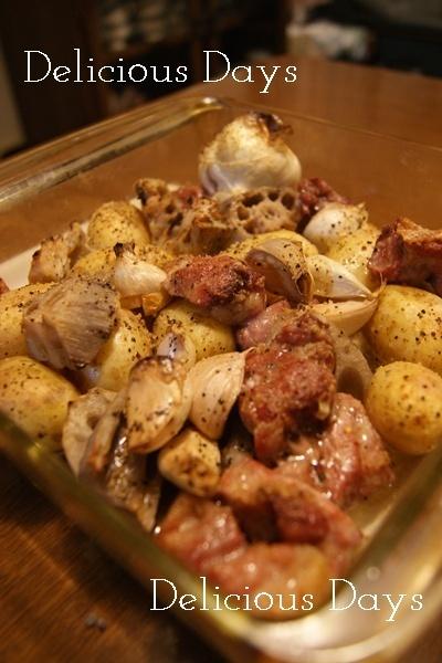 【 豚肩ロースと根菜のオーブン焼き&主人のいない夜 】