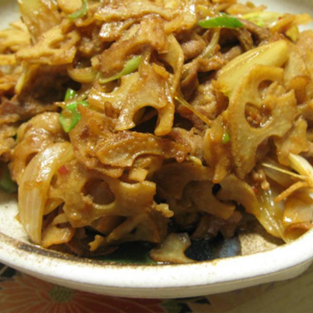 豚肉とレンコンの甘辛炒め(レシピ)肉うどんの具材に!