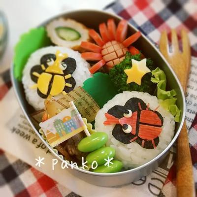 簡単夏☆かぶと虫のお弁当/幼稚園キャラ弁
