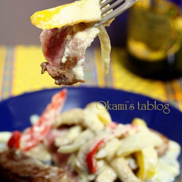 豆乳と味噌のソースでステーキ