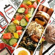 最近のPOCO弁当 定番の酵素玄米+サラダ ハンバーグ 焼き魚 たこ焼など