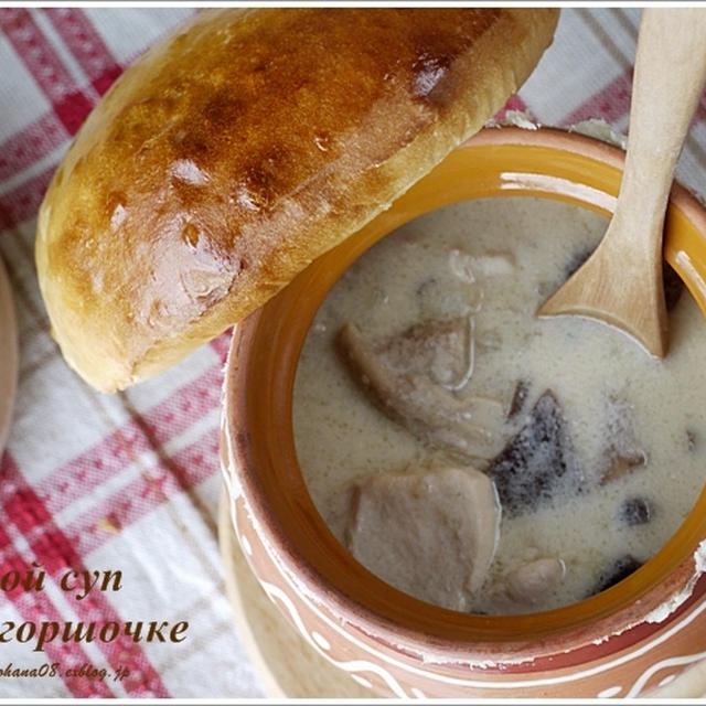 きのこの壺焼き  грибной суп в горшочке