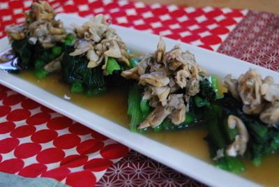 365日レシピNo.177 「小松菜とあさりのおひたし」