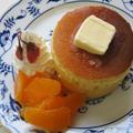 甘酒と本みりんでモチモチふっくら!なパンケーキ♪(桜の塩漬け・みかん・ホイップクリーム添え)