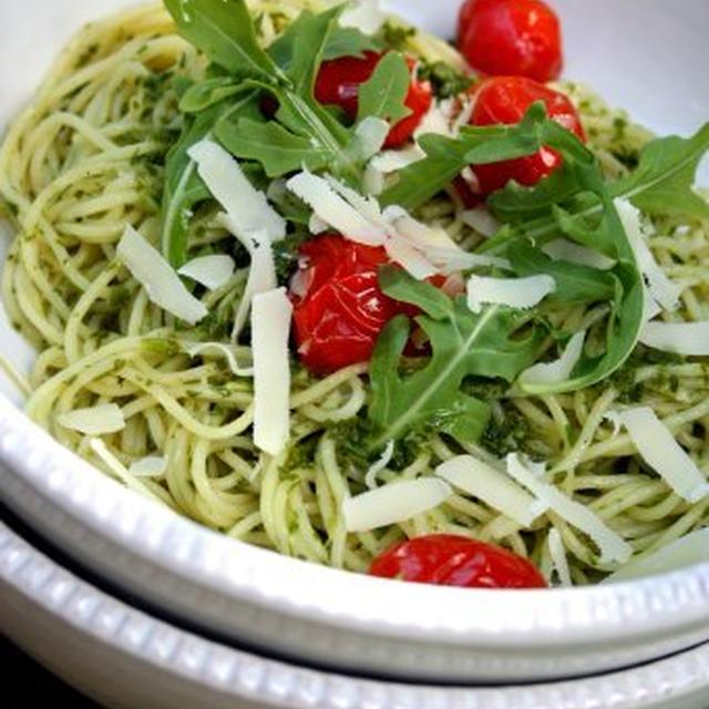 Angel Hair Pasta with Arugula Pesto and Tomato Confitルッコラペストパスタとミニトマトオイルコンフィ