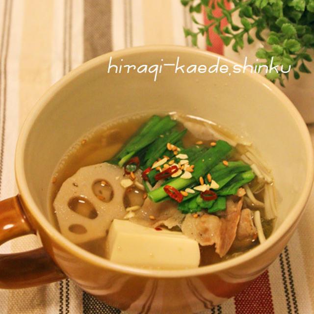 PREMIUMもつ鍋の素で☆ふつーの材料でうま辛スープ