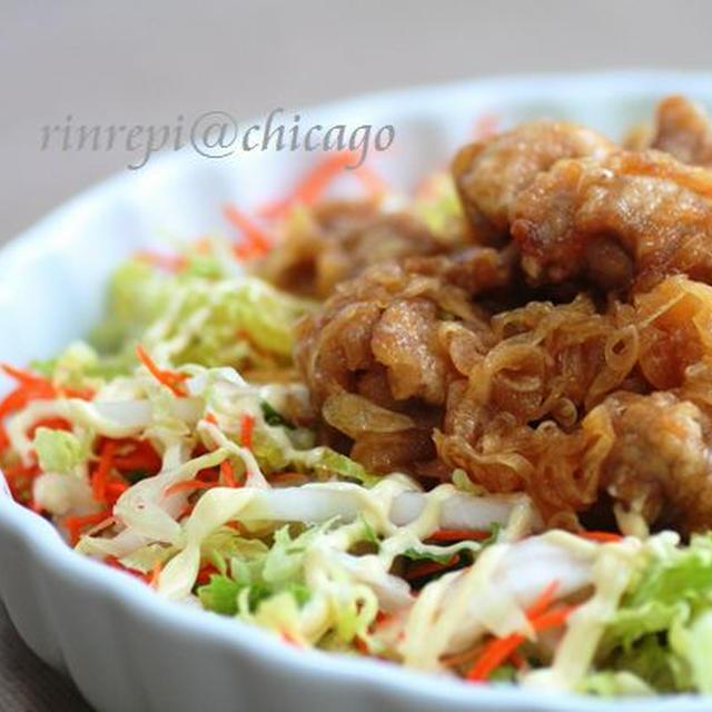 鶏からオニオンマリネの白菜サラダ