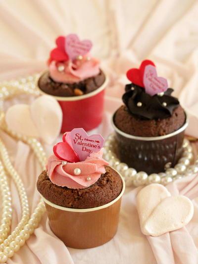 * バレンタイン ♡ モカショコラのカップケーキ♪