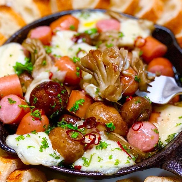 【レシピ】たっぷりきのことチーズのアヒージョ
