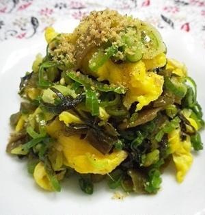 高菜漬けと卵の炒め物