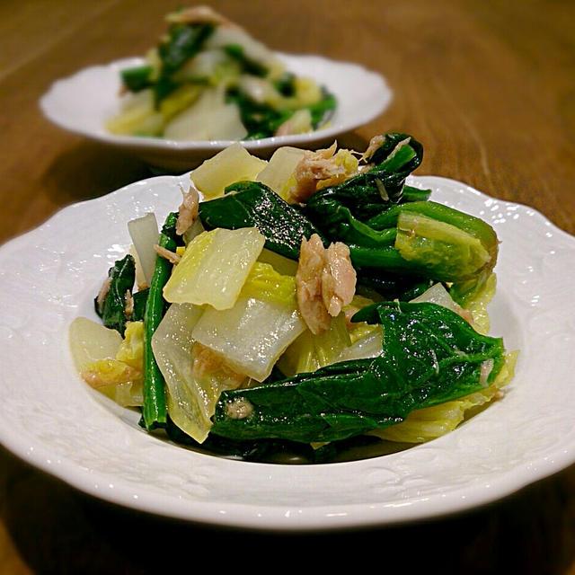 白菜とほうれん草のツナオイル和え
