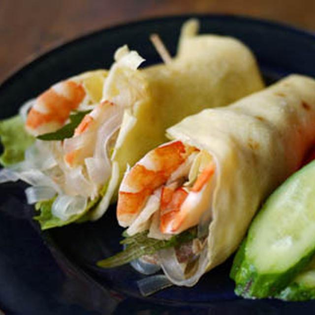 【米粉レシピ】海老と野菜のクレープ巻き